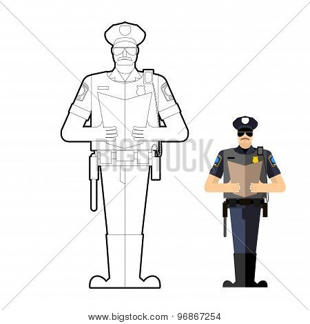 Policeman Coloring Book. Police Officer At Work. Vector Illustration.