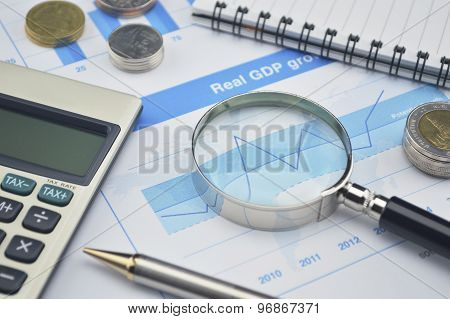 Magnifying Glass, Pen And Calculator On Financial Chart And Graph