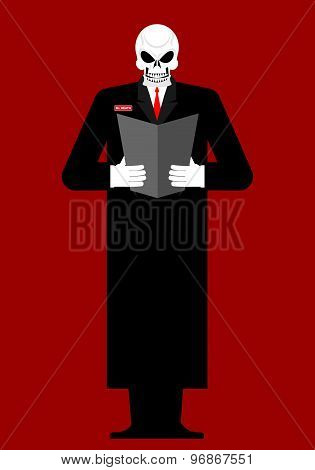 Mr Death. Skeleton In A Black Cloak. Reads Last Will And Testament. Vector Illustration