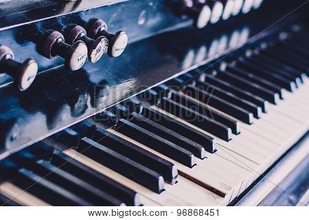 Detail of a church organ keyboard