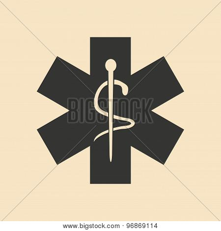 Flat in black and white mobile application logo ambulance