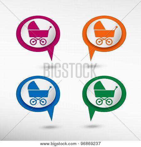 Baby pram stroller sign icon. Baby buggy on colorful chat speech bubbles