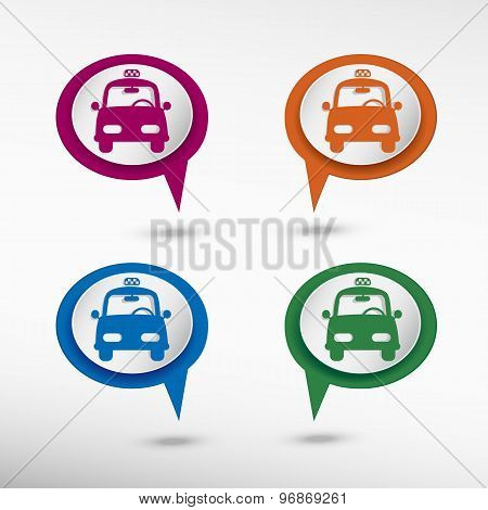 Taxi Icon on colorful chat speech bubbles