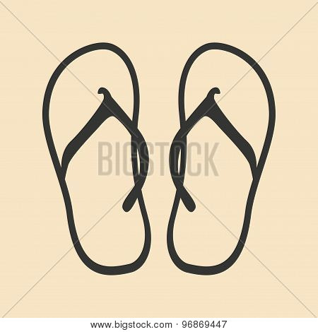 Flat in black and white mobile application flip flops