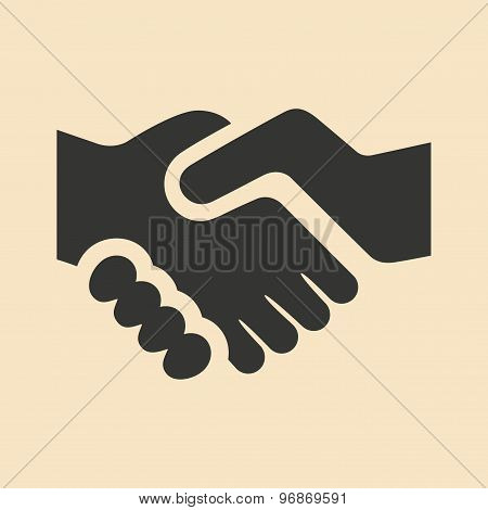 Flat in black and white mobile application handshake