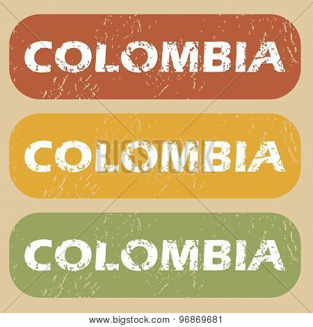Vintage Colombia stamp set