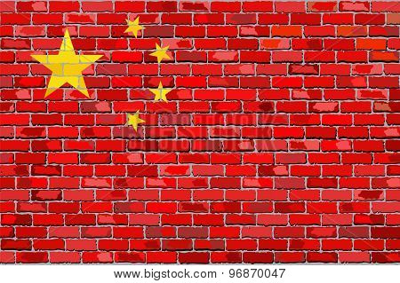 Grunge Flag Of China On A Brick Wall