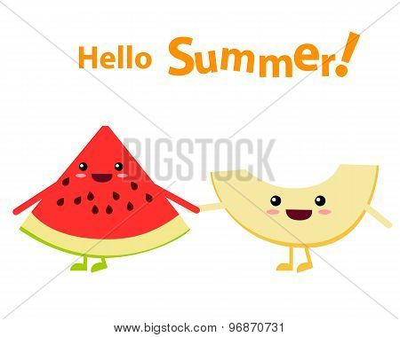 Watermelon and melon character. Hello summer. Vector illustration
