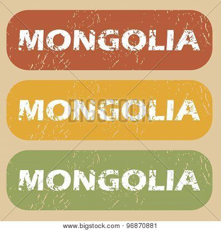 Vintage Mongolia stamp set