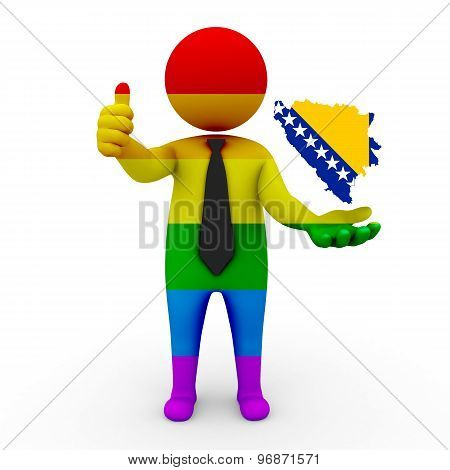 3d businessman people LGBT - with a map of the flag of Bosnia and Herzegovina