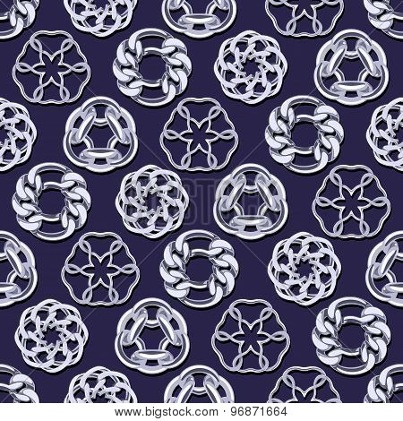 Abstract silver chains circles seamless background.