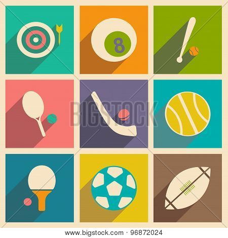 Flat with shadow concept and mobile application sports icons
