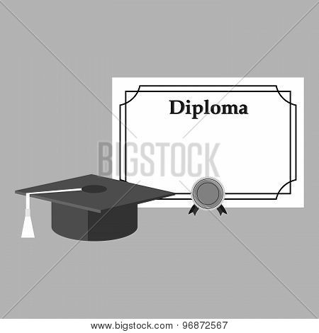 graduation cap and diploma black