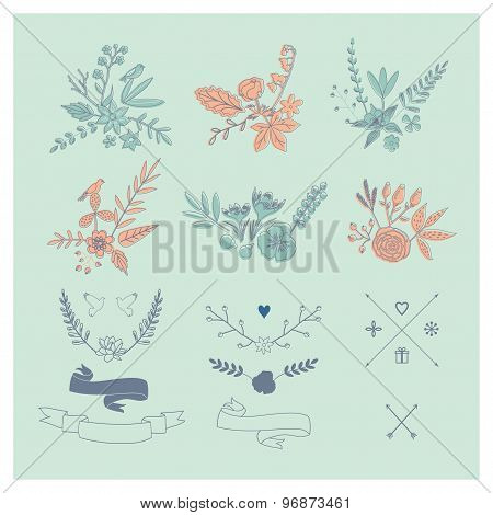 Hand Drawn Vintage Floral Elements. Set Of Flowers.