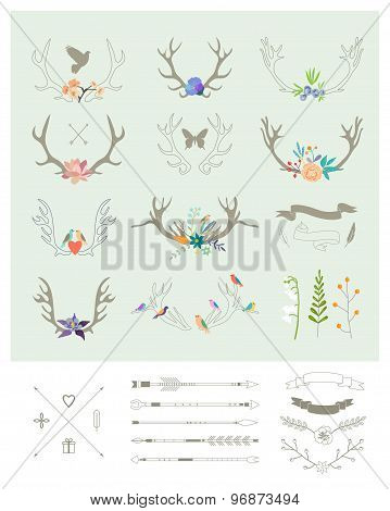 Antlers, Flowers, Arrows, Ribbons. Idecor Elements. Isolated.