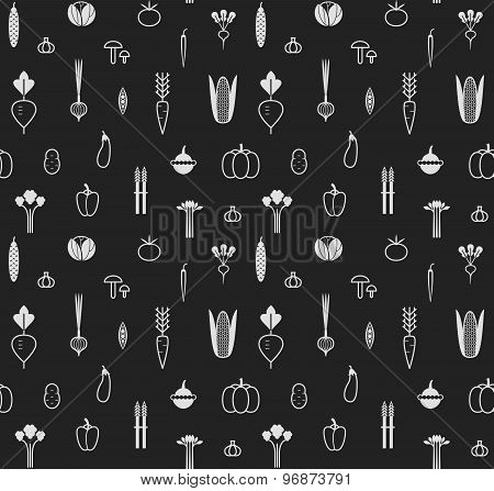 Seamless Pattern With Different Vegetables. Icons.