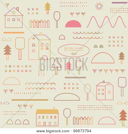 Eco Structure. Outline illustration. Cute seamless Pattern