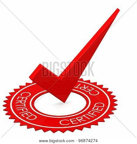 Certified Red Tick In A Circle