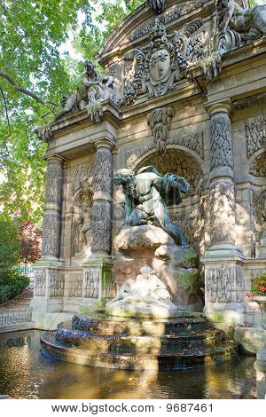 France. Paris. the Medici Fountain (La fontaine Medicis) in Luxembourg Gardens.