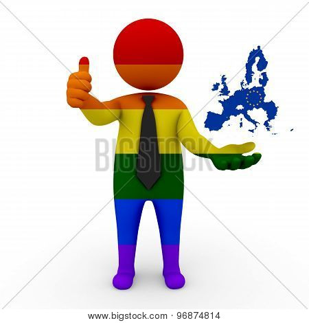 3d businessman people LGBT - with a map of the flag of European Union