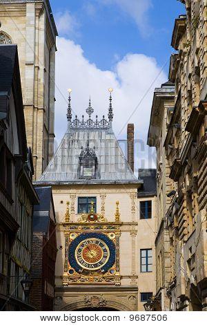 France. Normandie. Rouen. The big tower clock- Gros-Horloge