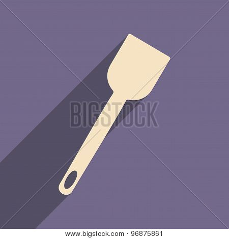 Flat with shadow icon and mobile application kitchen spatula