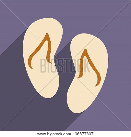 Flat with shadow icon and mobile applacation beach slippers