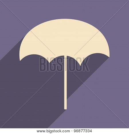 Flat with shadow icon and mobile applacation beach umbrella