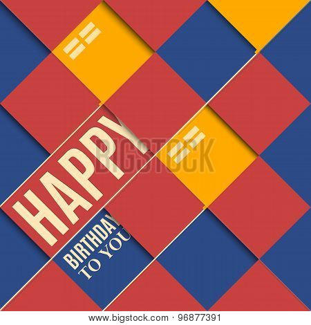 Abstract birthday card orange balloons on blue background.
