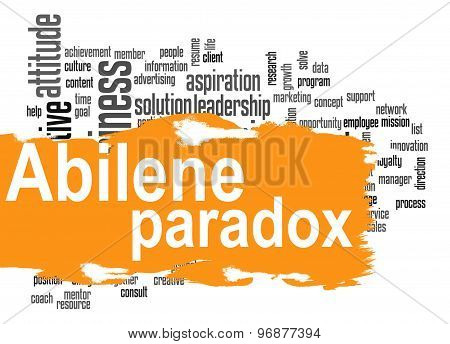 Abilene Paradox Word Cloud With Orange Banner