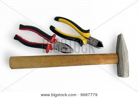 Pliers, Side Cutters And A Hammer