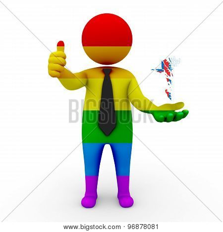 3d businessman people LGBT - with a map of the flag of Faroe Islands