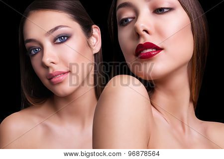 close portrait of one beautiful girl with two different makeupe. Isolated on black background. Copy