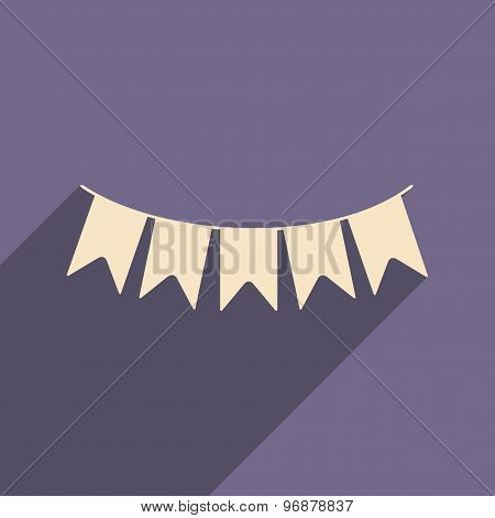 Flat with shadow icon and mobile applacation garland