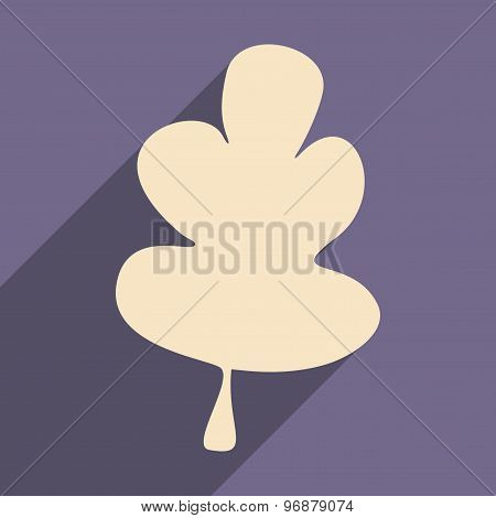 Flat with shadow icon and mobile applacation oak leaf