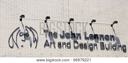 John Lennon Art and Design Building sign.