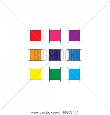 Abstract Color Square with Sketch Line