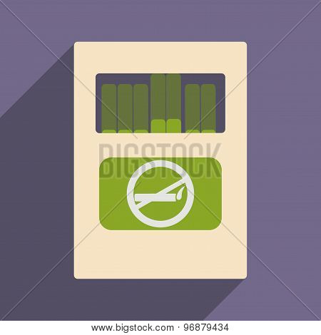 Flat with shadow icon and mobile application pack of cigarettes