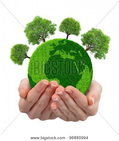 Green planet with trees in hands isolated on white background