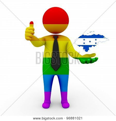 3d businessman people LGBT - with a map of the flag of Honduras
