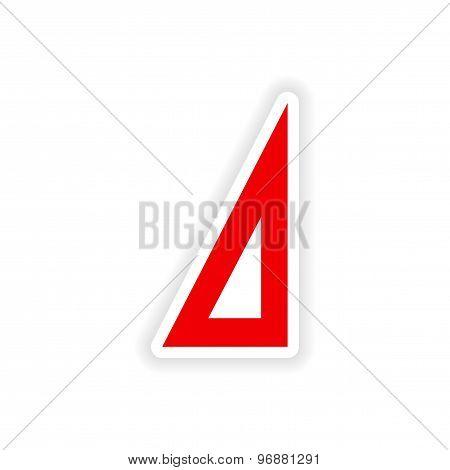 icon sticker realistic design on paper ruler