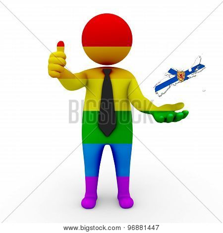 3d businessman people LGBT - with a map of the flag of Nova Scotia