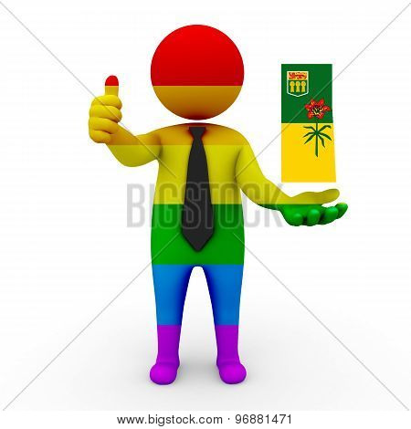 3d businessman people LGBT - with a map of the flag of Saskatchewan