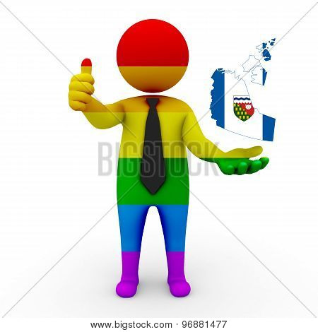 3d businessman people LGBT - with a map of the flag of Northwest territories