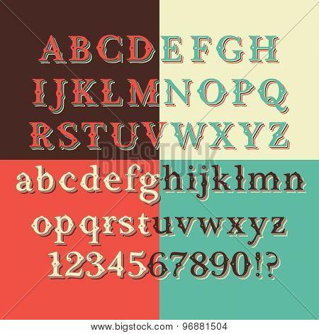 Retro Color Vintage Style Font set