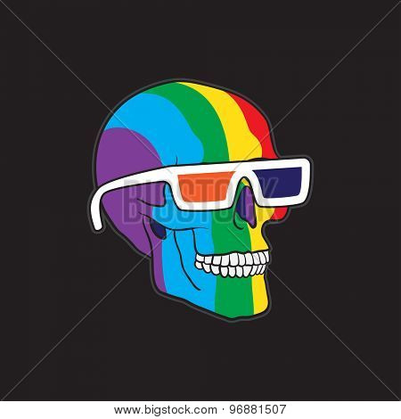 Color Skull in 3D Glasses