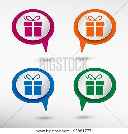Gift box on colorful chat speech bubbles