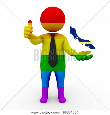 3d businessman people LGBT - with a map of the flag of Curacao
