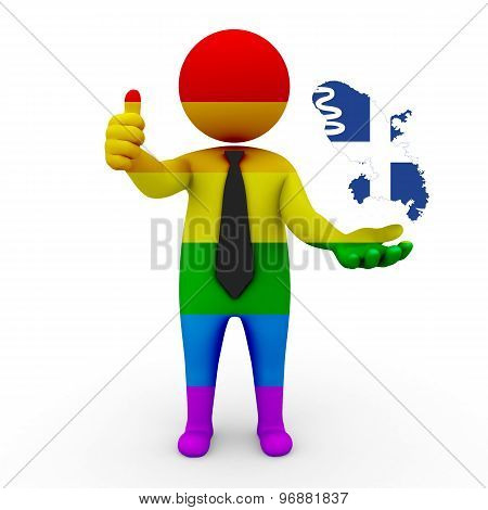 3d businessman people LGBT - with a map of the flag of Martinique
