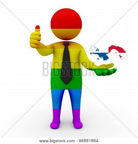 3d businessman people LGBT - with a map of the flag of Panama